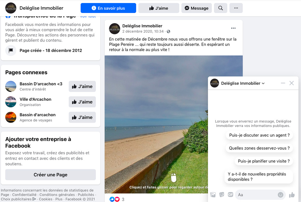 marketing immobilier page Facebook deléglise